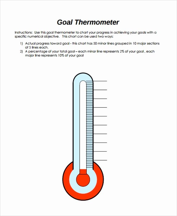 Thermometer Goal Chart Template Lovely Sample thermometer Template 9 Free Documents Download