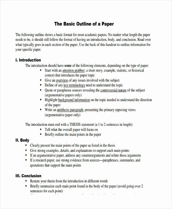 Thesis Outline Template Fresh 10 Paper Outline Templates Free Sample Example format