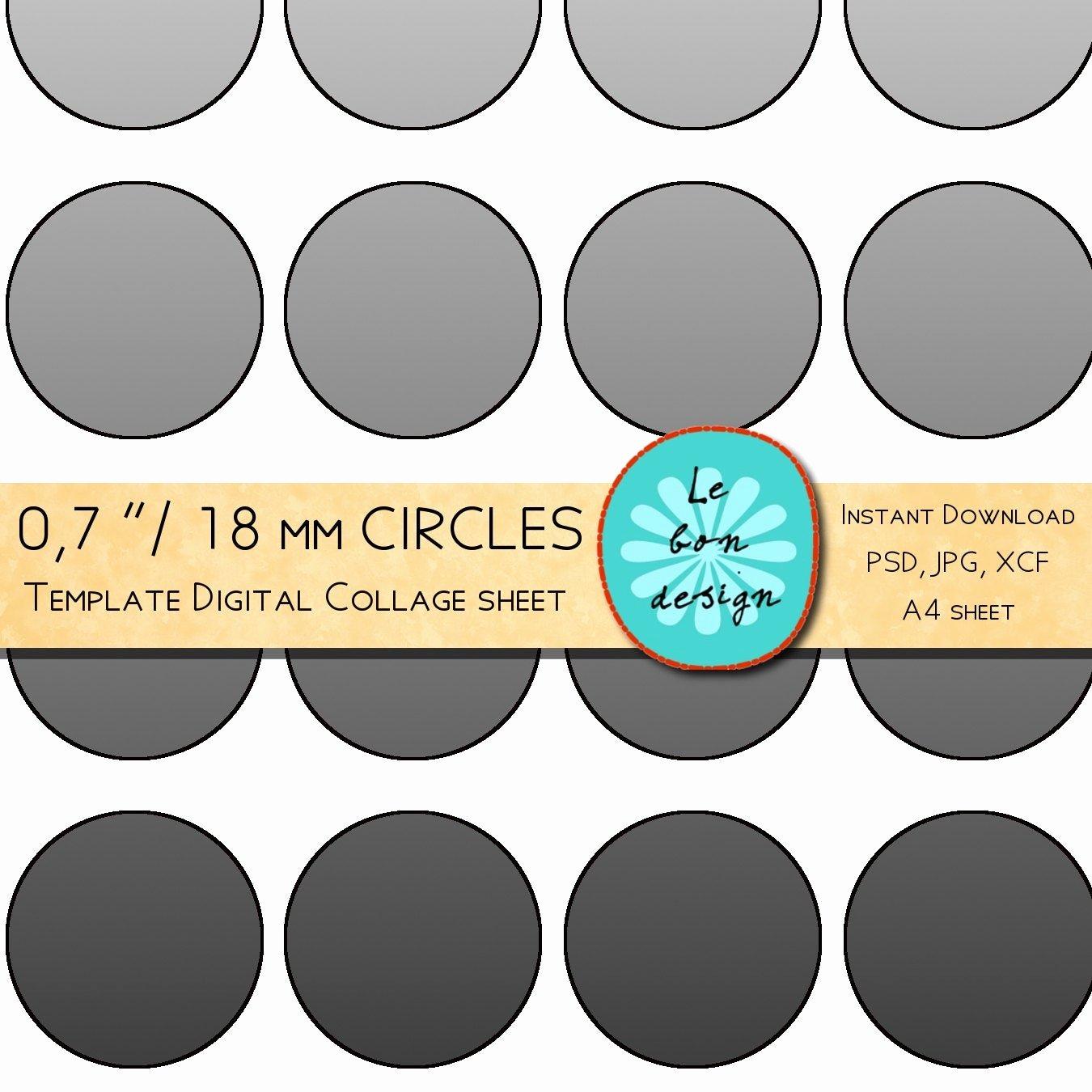 Three Inch Circle Template Fresh 07 Inch 18 Mm Circle Template 40 Circles Diy Collage Sheet