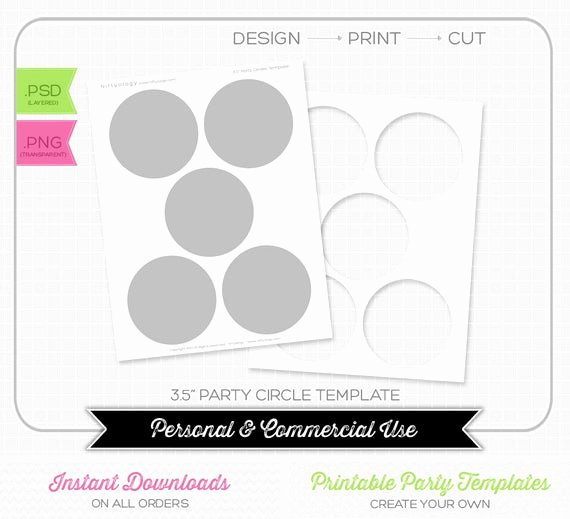Three Inch Circle Template Luxury 3 5 Inch Party Circle Template Instant Download by Niftyology
