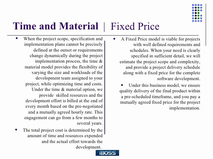 Time and Material Template Fresh A Parison Between Time and Material and Fixed Bid