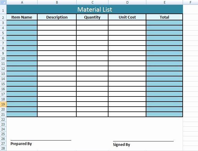 Time and Materials Template Awesome Get Material List Template In Excel Microsoft Excel