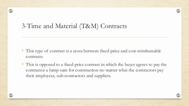 Time and Materials Template Fresh Types Of Contract In Project Management