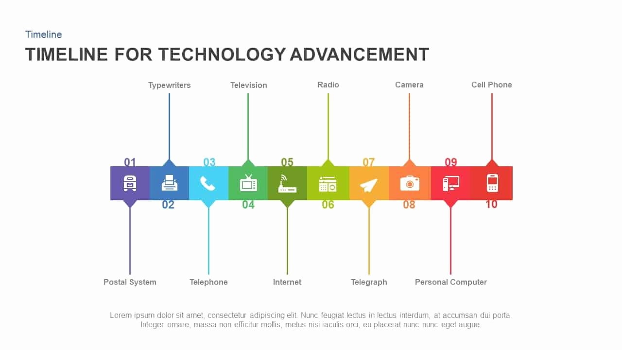 Timeline Template Keynote Fresh Timeline for Technology Advancement Powerpoint Template