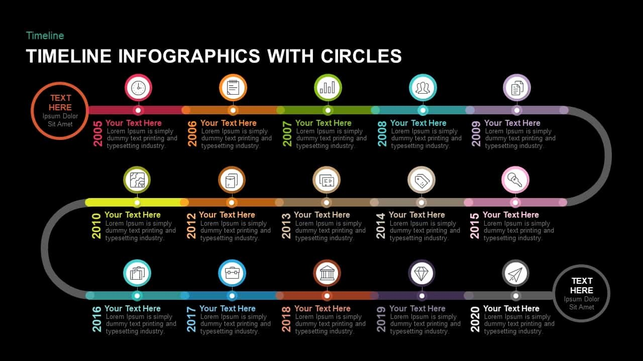 Timeline Template Keynote Lovely Timeline Infographics with Circles Powerpoint Template