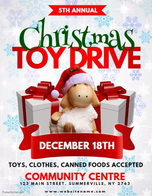 Toy Drive Flyer Template Elegant Christmas toy Drive Flyer Template