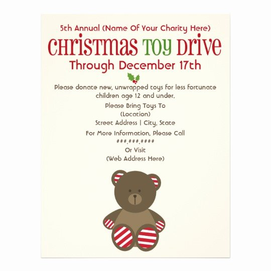Toy Drive Flyer Template Elegant Christmas toy Drive Striped Bear Flyer