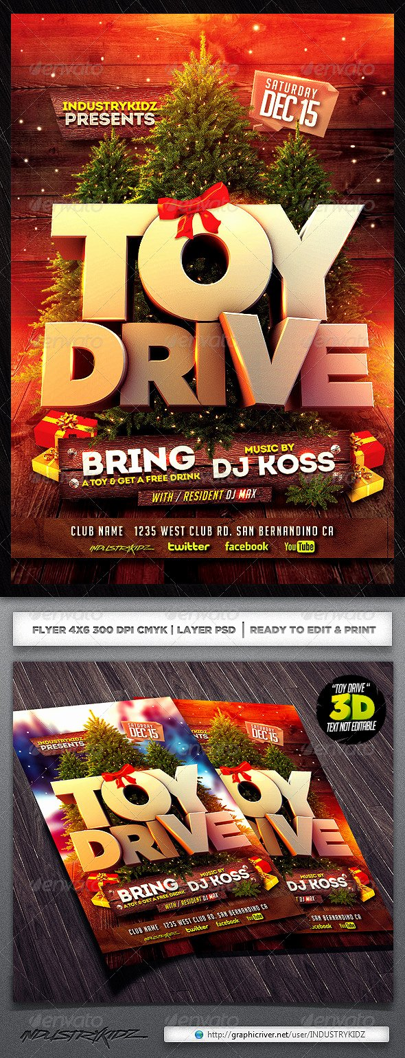 Toy Drive Flyer Template Elegant Editable toy Drive Posters Dondrup