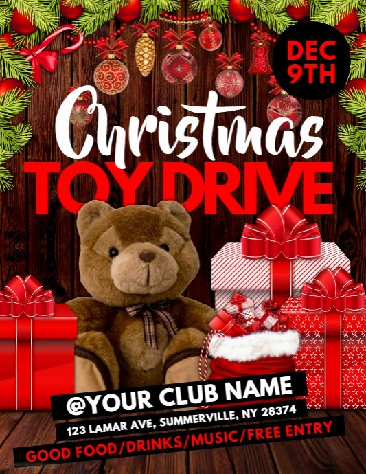 Toy Drive Flyer Template Fresh Christmas toy Drive Flyer Template