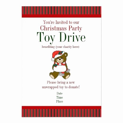 Toy Drive Flyer Template Inspirational Christmas Party Holiday toy Drive Invitations