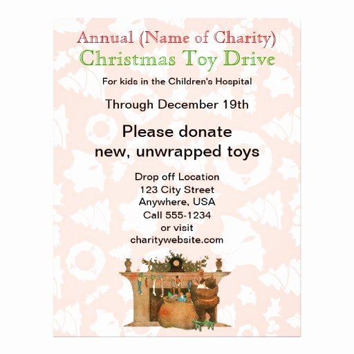 Toy Drive Flyer Template New Charity Annual Christmas toy Drive Santa Stockings Flyer
