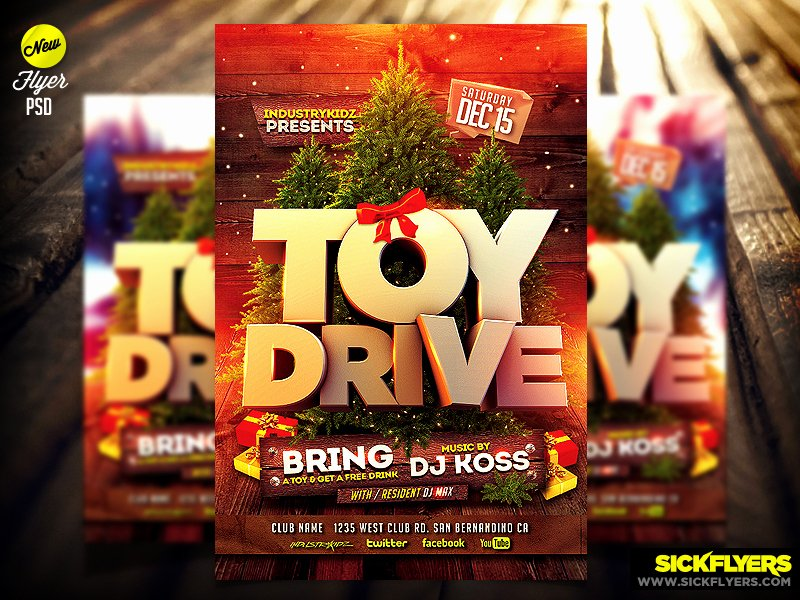 Toy Drive Flyer Template New toy Drive Flyer Template Psd by Industrykidz On Deviantart