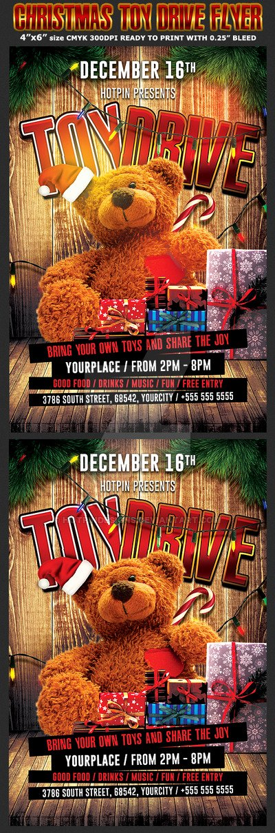 Toy Drive Flyer Template Unique Christmas toy Drive Flyer Template by Hotpindesigns On