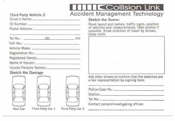 Traffic Accident form Unique Accident Report form