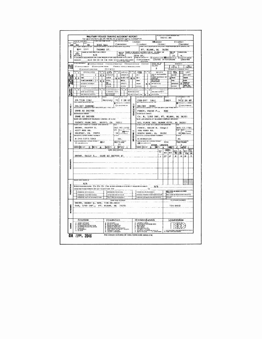 Traffic Accident form Unique Fnma 1008 form