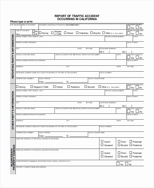 Traffic Accident form Unique Sample Dmv Accident Report form Free Documents In Pdf