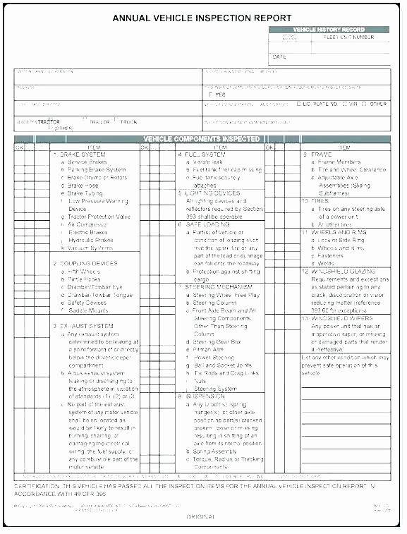 Trailer Inspection form Template Fresh Dot Inspection form Record Annual W Decal Stock Free