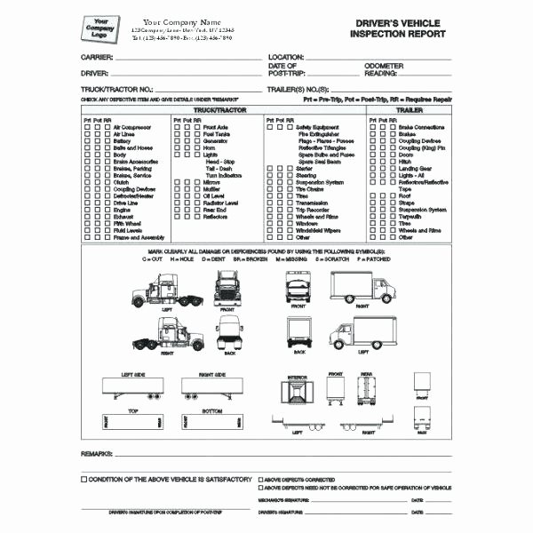 Trailer Inspection form Template Lovely Truck Rental Agreement Template