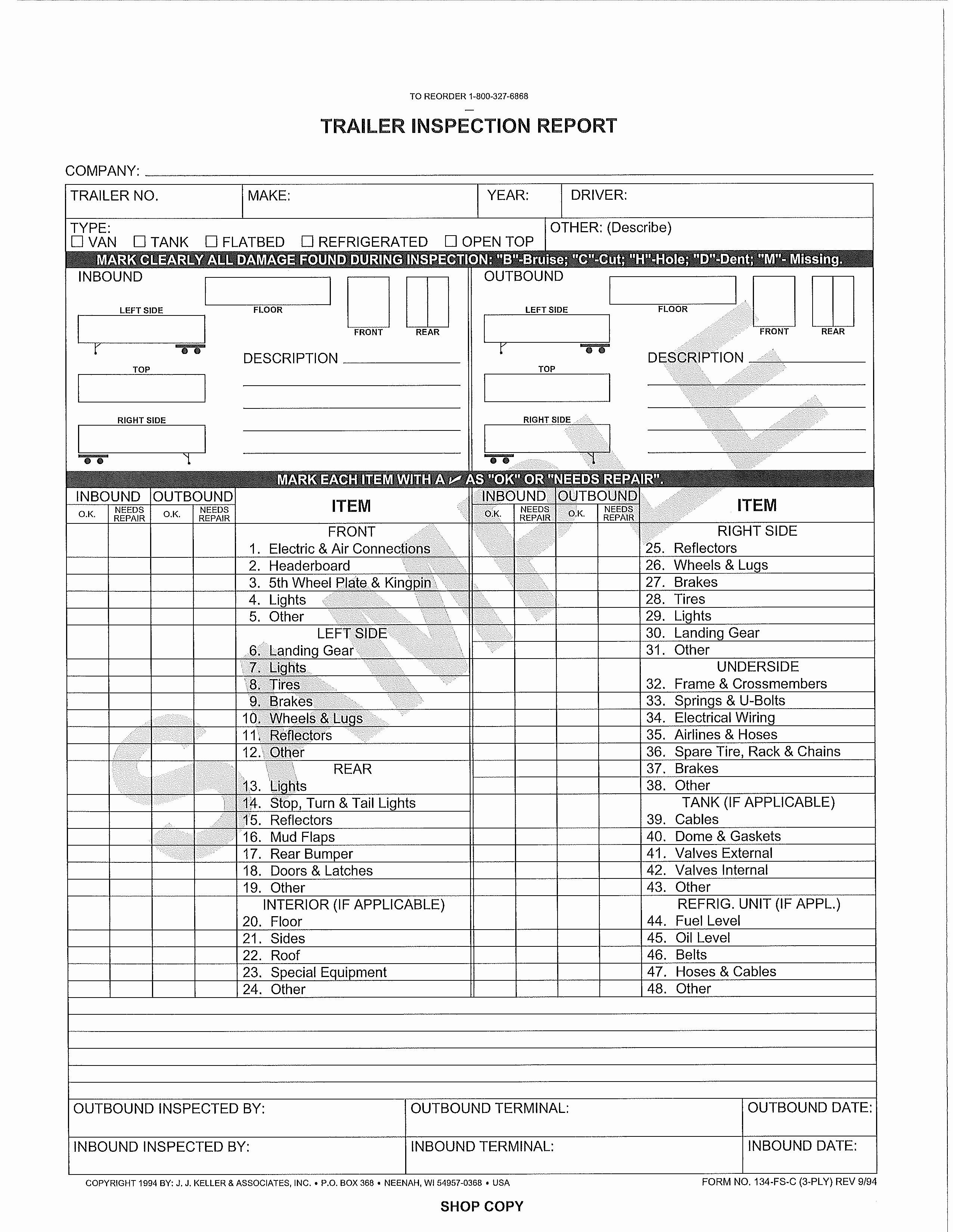 Trailer Inspection form Template New 29 Of Trailer Inspection Checklist Template