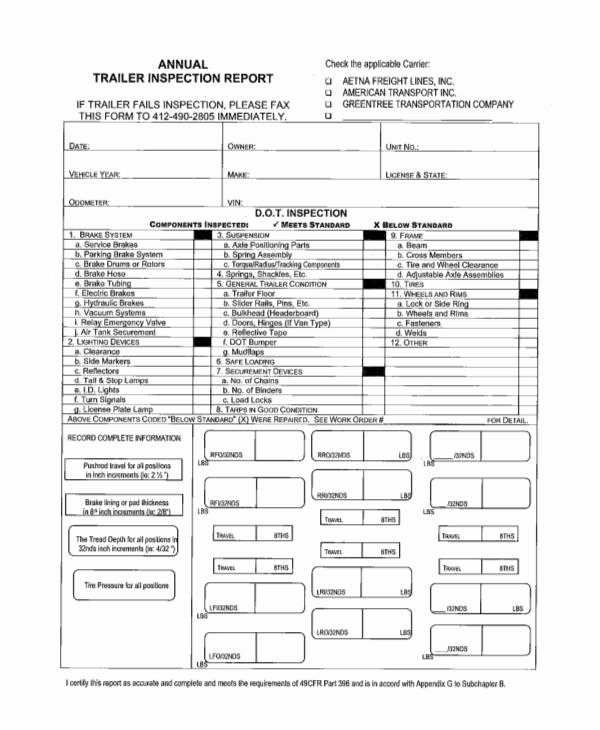 Trailer Inspection form Template Unique 41 Inspection Report Examples & Samples Pdf Word