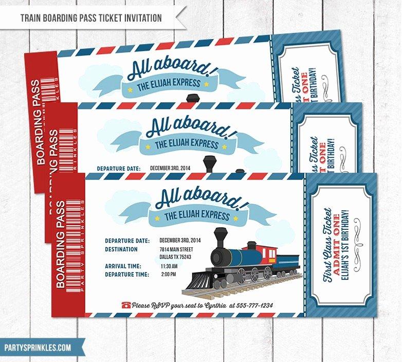 Train Ticket Birthday Invitation Awesome Vintage Train Birthday Party Ticket Boarding Pass Invitation