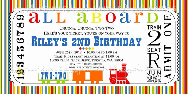 Train Ticket Birthday Invitation Lovely Free Printable Train Ticket Birthday Invitation