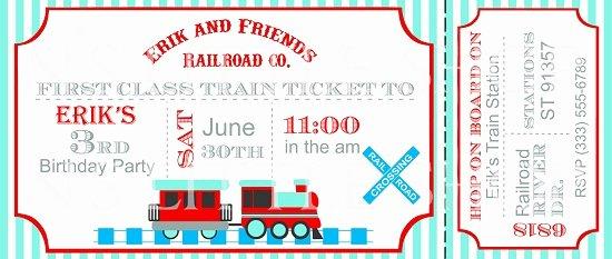 Train Ticket Birthday Invitation Lovely Train Birthday Party Invitations Ideas – Bagvania Free