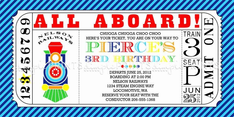 Train Ticket Birthday Invitation Lovely Train Ticket Printable Invitation Dimple Prints Shop