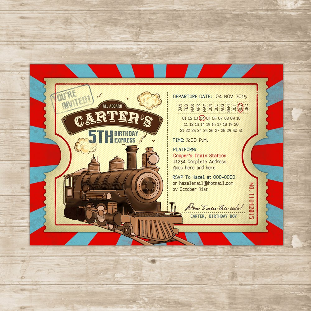 Train Ticket Birthday Invitation Lovely Vintage Train Invitation Steampunk Birthday Invite