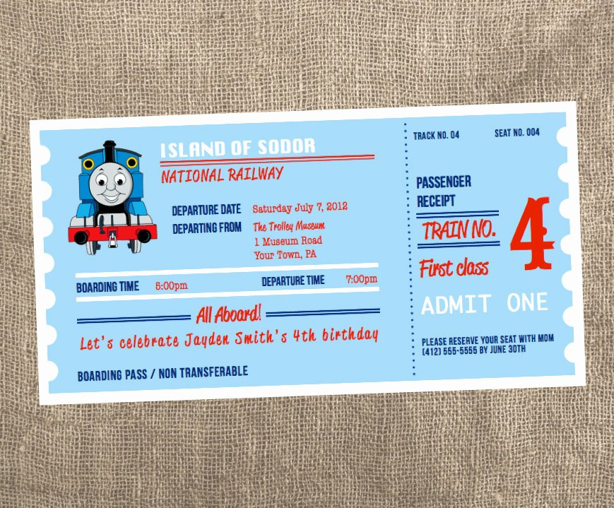 Train Ticket Birthday Invitation Luxury Thomas the Train Ticket Printable Invitation
