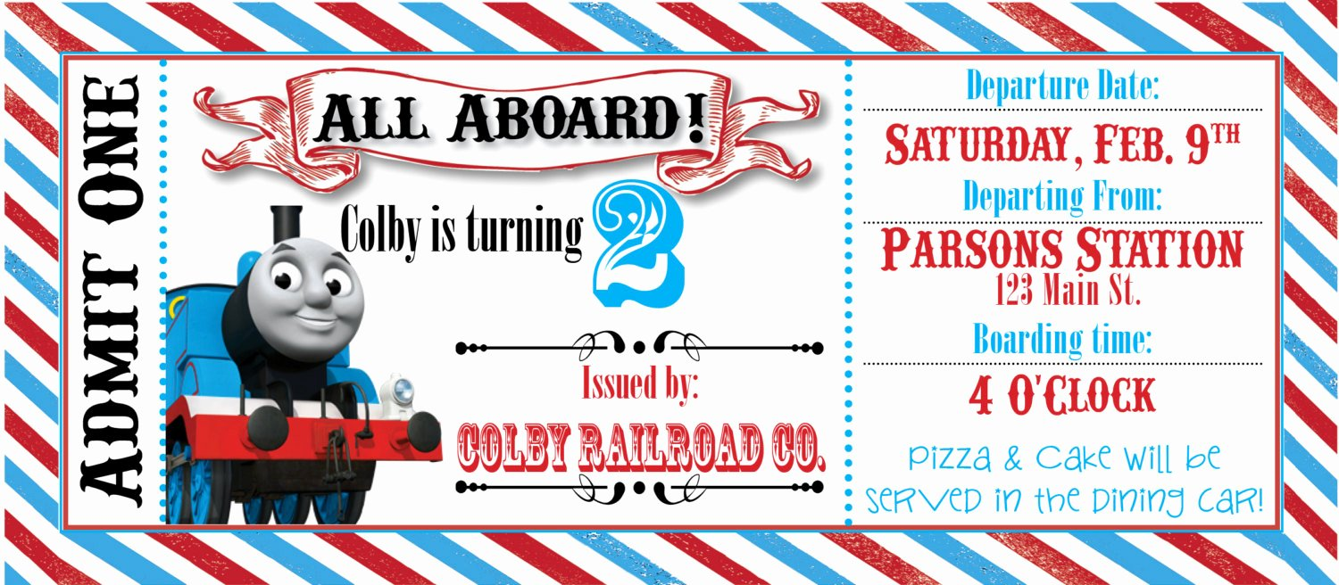 Train Ticket Birthday Invitation New Thomas the Train Ticket Party Invitation by Rawkonversations