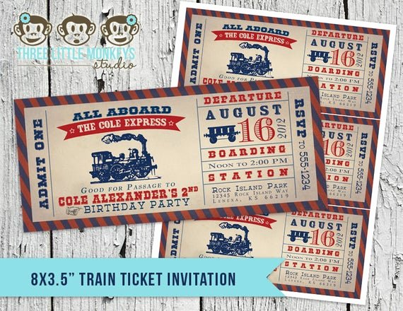 Train Ticket Birthday Invitation Unique Vintage Train Ticket Invitation & Matching Thank You Note