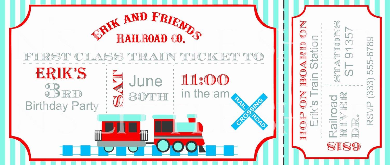 Train Ticket Template Elegant Items Similar to Train Ticket Birthday Party Invitation