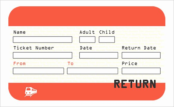 Train Ticket Template Elegant Ticket Template 81 Free Word Excel Pdf Psd Eps