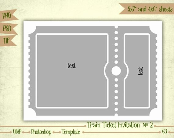 Train Ticket Template Elegant Train Ticket Invitation N2 Digital Collage Sheet Layered