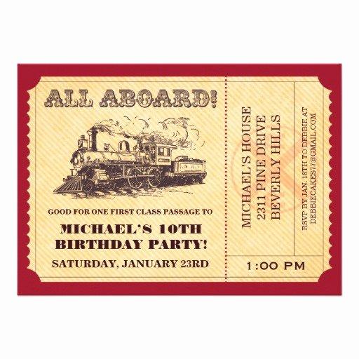 "Train Ticket Template Elegant Train Ticket Invitations 5"" X 7"" Invitation Card"