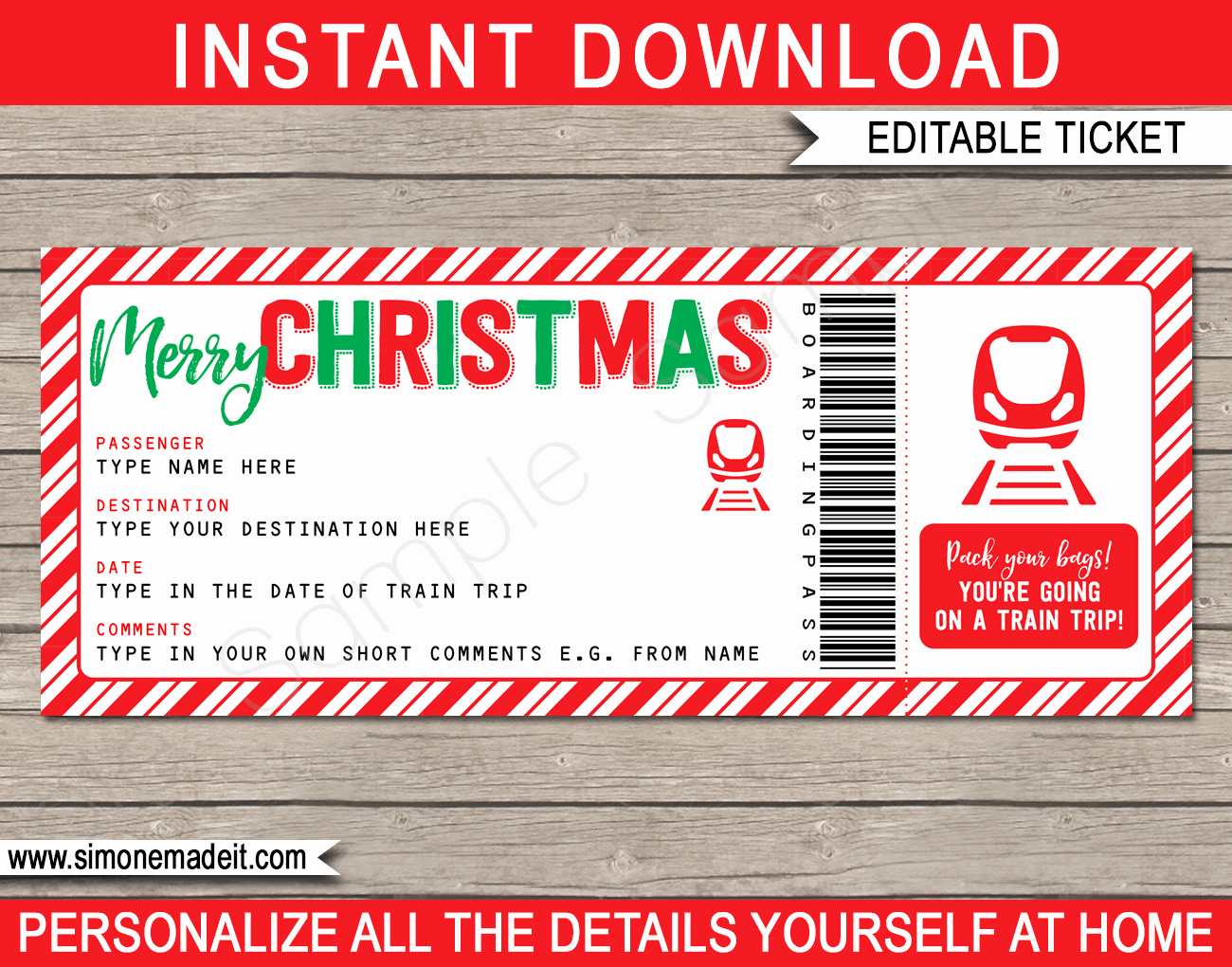 Train Ticket Template Inspirational Christmas Train Ticket Boarding Pass