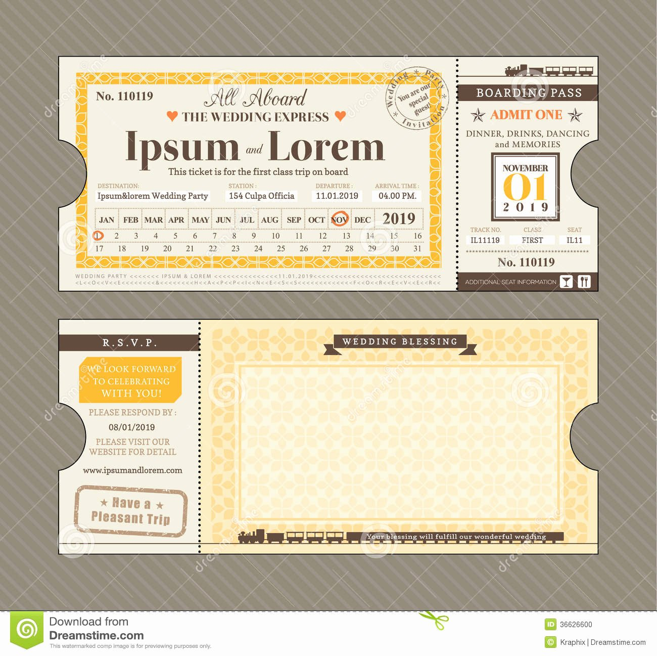 Train Ticket Template Lovely Vector Train Ticket Wedding Invitation Design Template