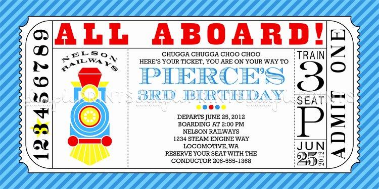 Train Ticket Template Luxury Train Ticket Printable Birthday Invitation Dimple Prints