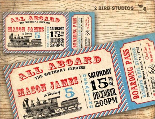 Train Ticket Template New Printable Vintage Train Invitation Ticket Template