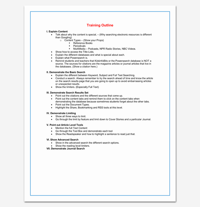 Training Agenda Template In Word Beautiful Training Course Outline Template 24 Free for Word & Pdf