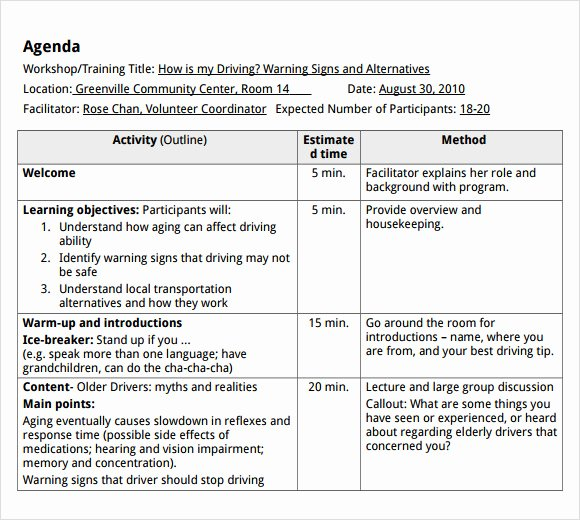 Training Agenda Template In Word Elegant 8 Training Agenda Samples Pdf Word