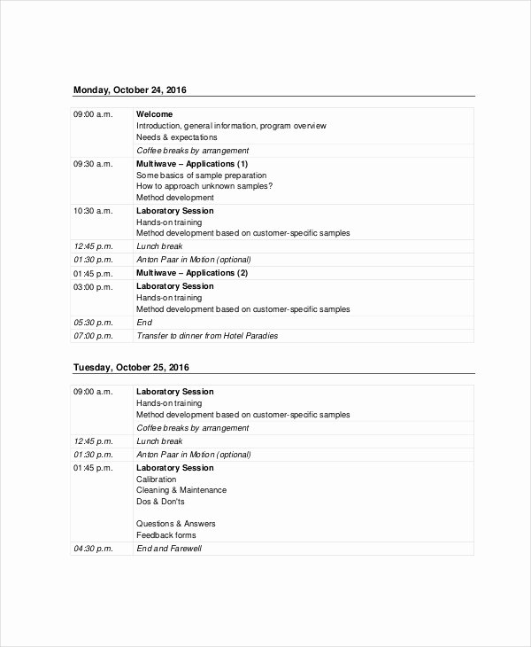 Training Agenda Template In Word Inspirational Sales Agenda Template 5 Free Word Pdf Documents