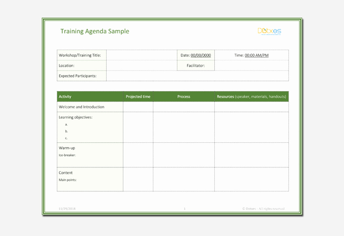 Training Agenda Template In Word Lovely Agenda Outline Template 10 for Word Excel Pdf format