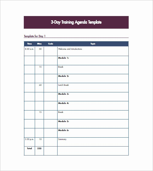 Training Agenda Template In Word Luxury Training Agenda Template – 8 Free Word Excel Pdf format