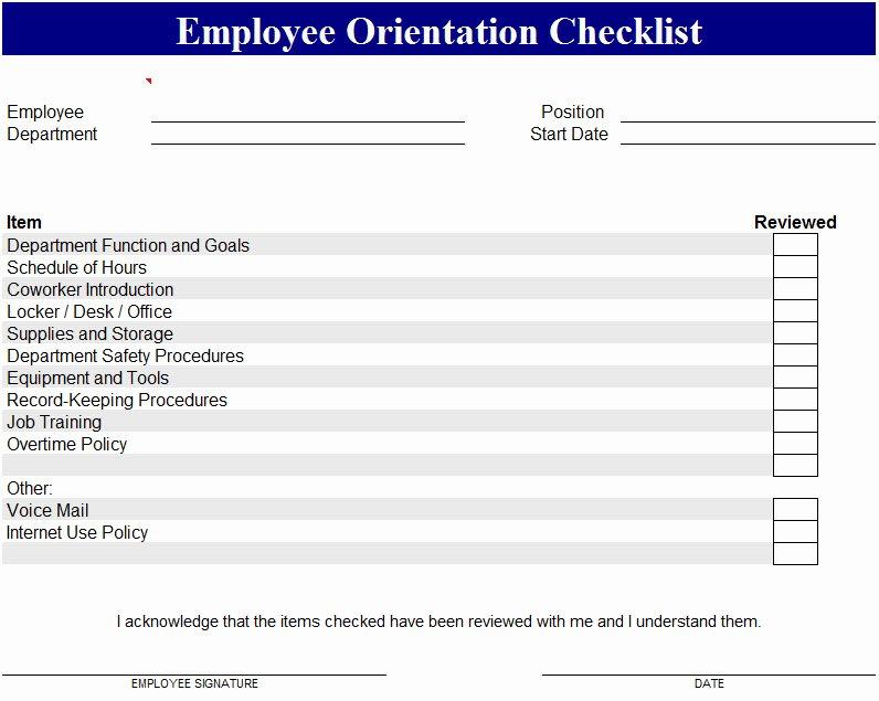 Training Checklist Template Excel Fresh Employee orientation Checklist