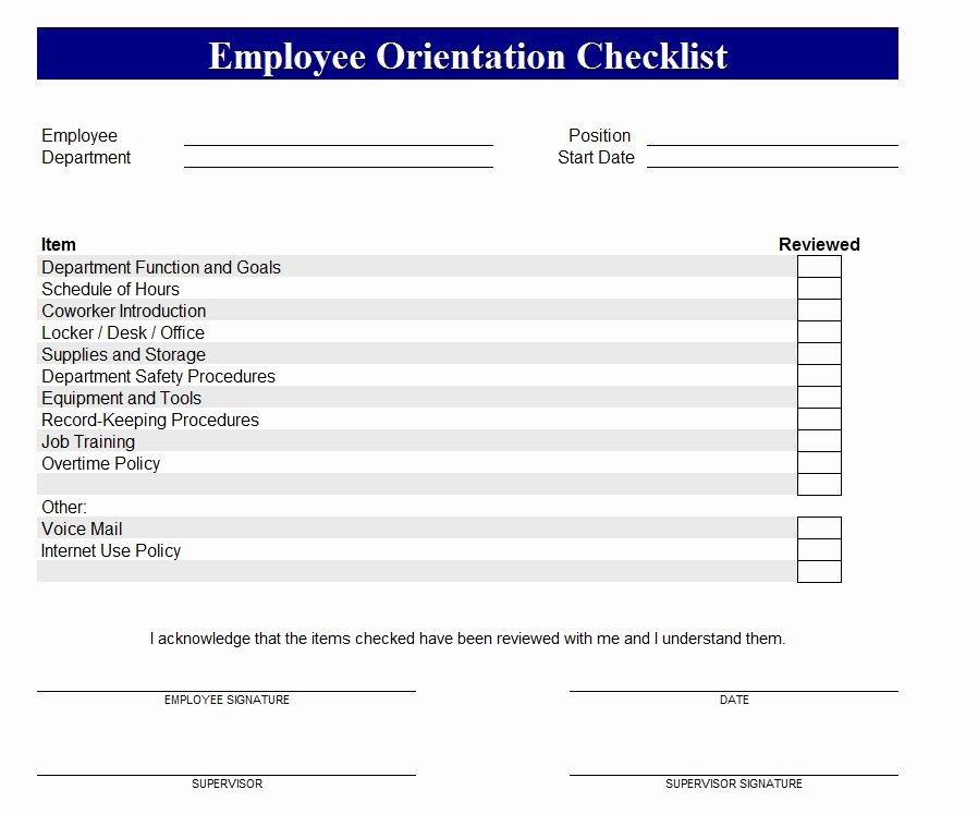 Training Checklist Template Excel New New Employee orientation Checklist