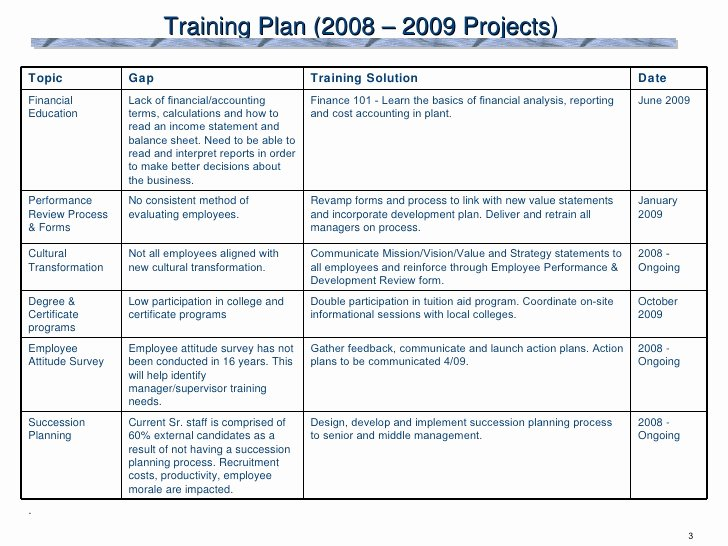 Training Development Plan Template Best Of 2009 Training Plan