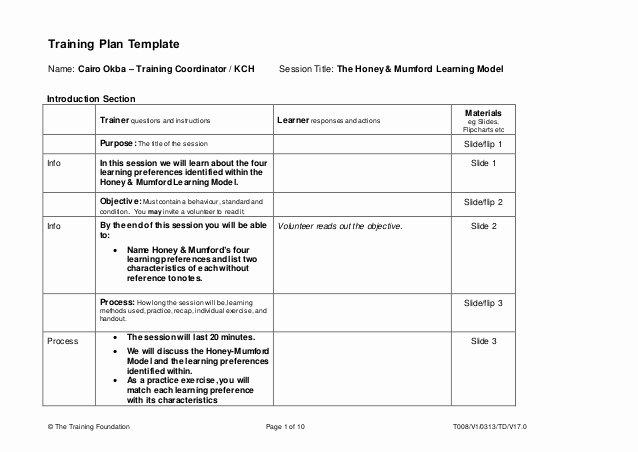 Training Development Plan Template Best Of Training Plan Template Honey & Mumford Learning Model