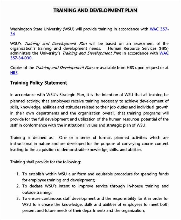 Training Development Plan Template Elegant 6 Employee Training Plan Templates Free Samples